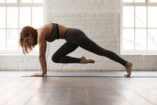 Woman Practicing Yoga, Doing Knee To Forehead Exercise, Plank Pose