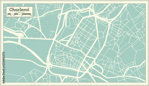 Charleroi City Map in Retro Style. Outline Map. Tablou Canvas