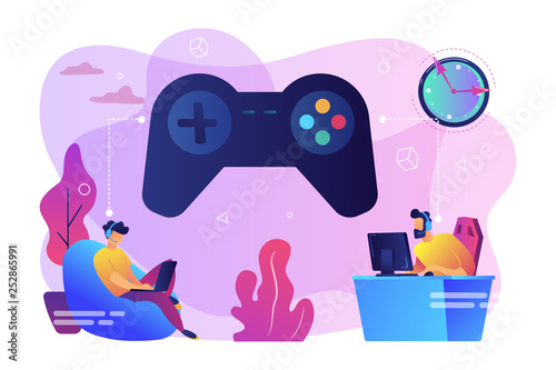 Gaming disorder concept vector illustration. Canvas Print