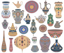 Traditional Arabic Utensils Collection. Oriental Dishes, Pots, Lantern, Bowl, Plates, Pottery, Ceramic With National Floral Ornament. Isolated Objects On White Background. Vector Illustration