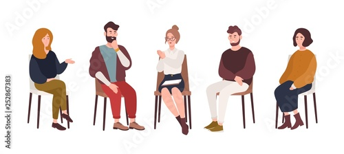 Men and women sitting on chairs and talking to psychotherapist or psychologist. Group therapy session, psychotherapeutic meeting or psychological aid. Vector illustration in modern flat style.