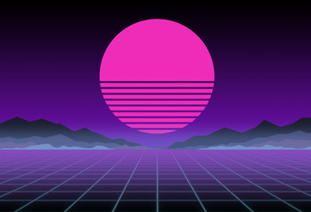 Glowing neon, synthwave and retrowave background template. Retro video games, futuristic design, rave music, 80s computer graphics and sci-fi concept.