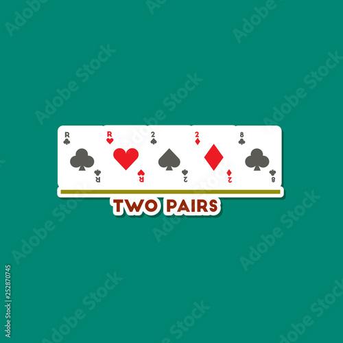 Obraz na plátně paper sticker on stylish background poker two pairs