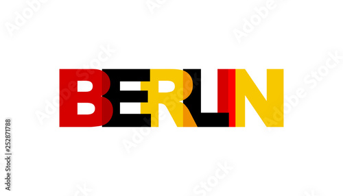 Berlin, phrase overlap color no transparency. Concept of simple text for typography poster, sticker design, apparel print, greeting card or postcard. Graphic slogan isolated on white background.