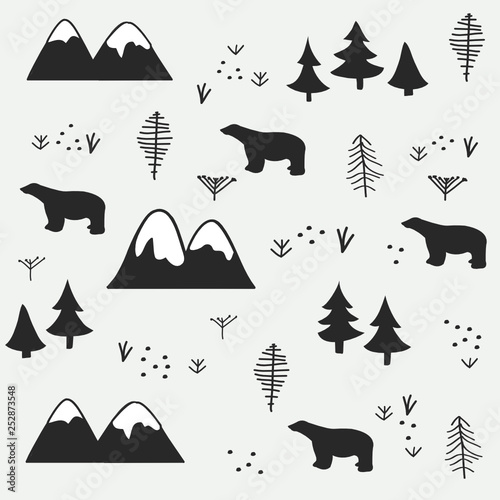 plakat Polar bear, mountain and forest seamless pattern background