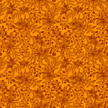 Hand Drawn Flower Seamless Pattern. Brown Floral Backdrop Tracery On Orange Background, Vector Illustration