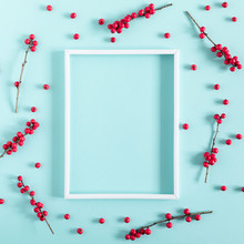 Berries Composition. Photo Frame, Red Berries On Pastel Pink Background. Flat Lay, Top View, Copy Space