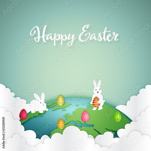 Foto  Paper art , cut and craft style of colorful of eggs and rabbit on the world as Easter Holiday concept