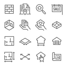 Real Estate Line Icon Set. Contains Such Icons As Blueprint, Floor Plan, Search And More. Expanded Stroke
