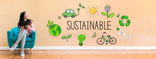 Sustainable With Young Woman H...