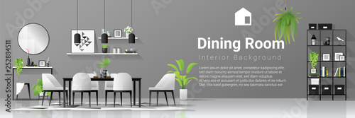 Fotografía Interior background with dining room in modern black and white scandinavian styl