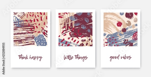 Set Of Modern Decorative Card Templates With Inspirational