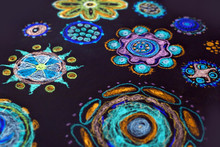 Children`s Pencil Drawing In Floral Multi-colored Tones. Background Of Round Doodles. Inverted Tones Mandala
