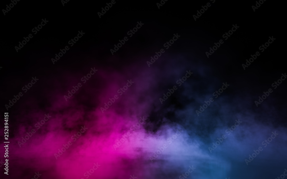 Fototapety, obrazy: Empty scene  with glowing pink and blue smoke environment atmosphere on floor.  Fashion vibrant colors spectrum background. 3d rendering.