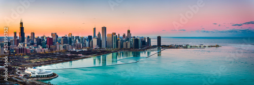 Poster de jardin Chicago Beautiful Sunsets behind Chicago