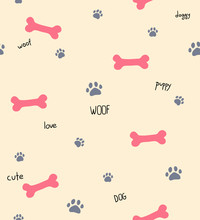 Seamless Pattern With Dog Words, Bones And Footprints