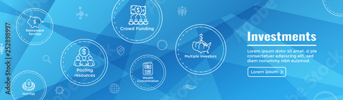 Photo Retirement Investments, Dividend Income, Mutual Fund, IRA Icon set Web Header Ba