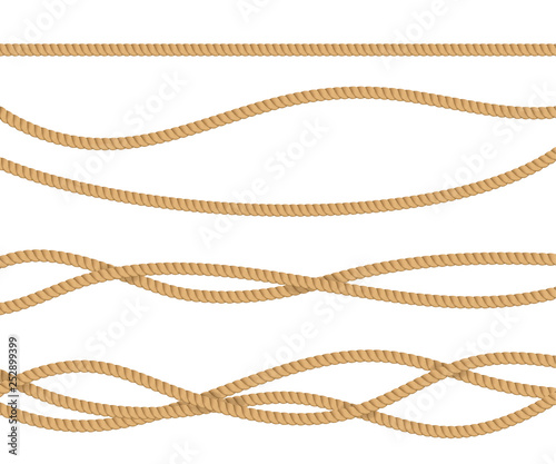 Fotomural Realistic 3d Detailed Rope for Decoration. Vector