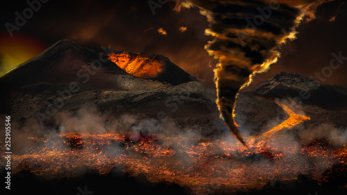 Fotografia, Obraz Extreme weather with tornado twister and erupting volcano in the background