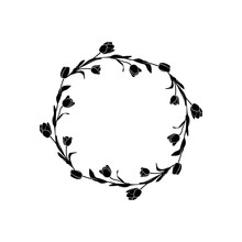 Tulips Frame Round Floral Pattern.