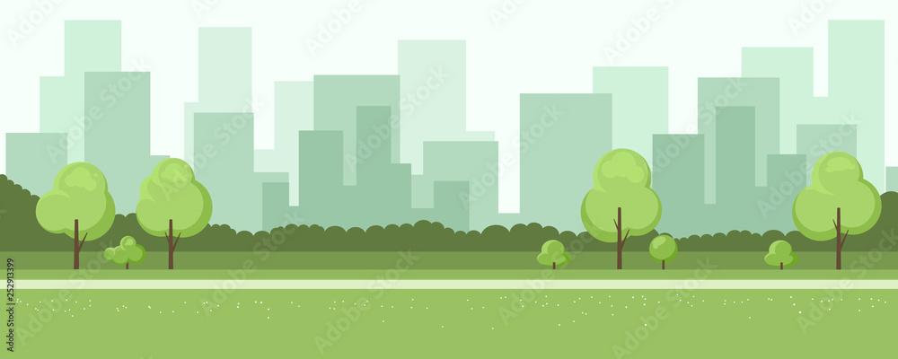 Fototapeta Summer landscape with city on background
