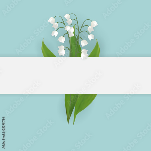 Wallpaper Mural Colorful naturalistic blooming lily of the valley backgroud
