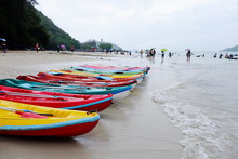 Kayaking At The Beach On A Rainy Day