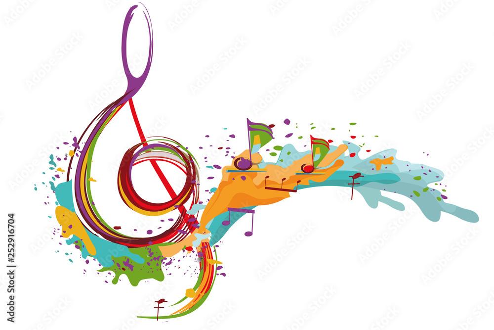 Fototapeta Abstract musical design with a treble clef and colorful splashes and waves. Hand drawn vector illustration.