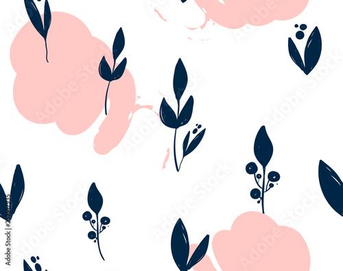 Hand drawn vector pink leaf pattern Canvas Print