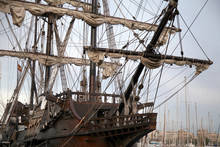 Authentic Traditional Spanish Galeon With All Sailing Equipment