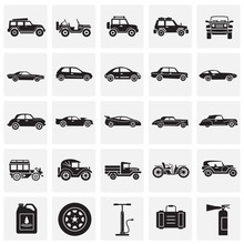 Cars Icons Set On Squares Back...