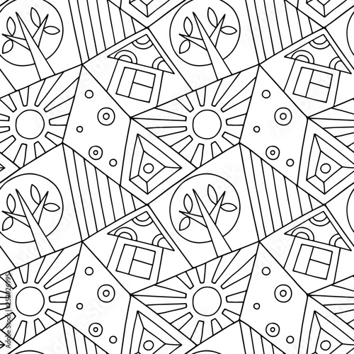 Seamless Vector Pattern Black And White Asymmetric