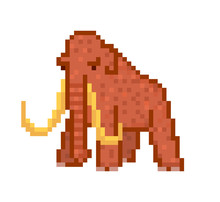Huge Brown Woolly Mammoth With Tusks, 8 Bit Pixel Art Character Isolated On White Background. Prehistoric Ice Age Animal Symbol. Historic Natural Science Museum Exibit.