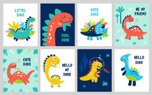 Set Baby Print With Dino. Can Be Used For Poster, Card, Banner, Flyer. Hand Drawn Vector