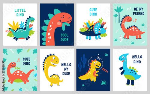 Valokuvatapetti Set baby print with Dino