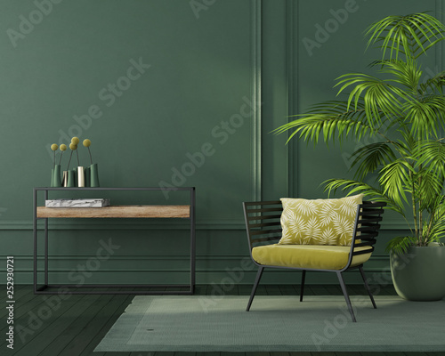 Fototapeta  Green interior with a yellow armchair