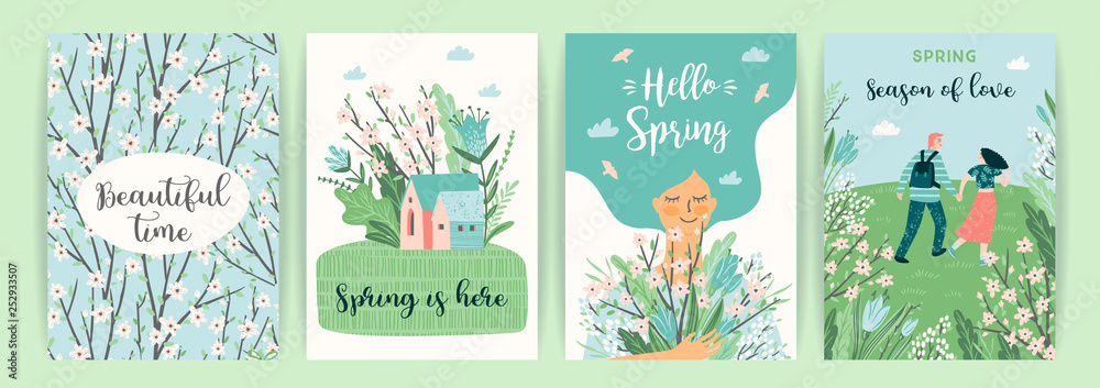 Fototapety, obrazy: Set of cute illustrations with people and spring nature.