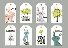 Cute Rabbits Gift Tags Set In Scandinavian Style. Vector Illustration