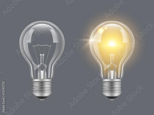 Obraz Turn on bulb. Light realistic transparent bulb bright lamp vector pictures. Illustration of lightbulb energy, light and bright - fototapety do salonu