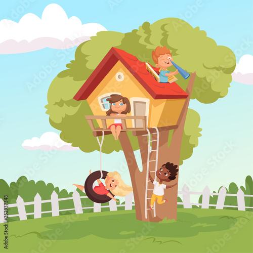 Foto auf Gartenposter Pool House on tree. Cute children playing in garden nature climbing vector kids background. Illustration of tree house for children, recreation childhood