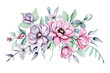Summer flowers watercolor, pink and violet peonies. Floral clip art. Perfectly for print design on invitation, greeting card, wall art and other. Isolated on white background. Hand paint.