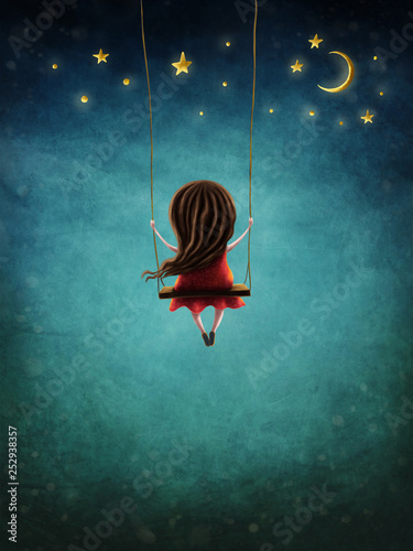 Fotomural Little fairy girl swingig
