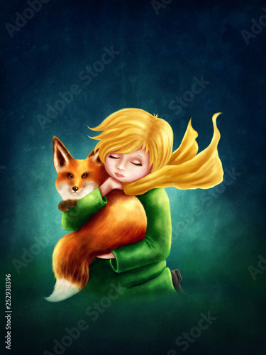 Little Boy and the Fox Fototapet