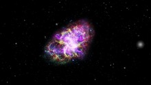 Crab Nebula Space Exploration Animation. Contains Public Domain Image From Nasa