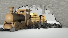 3D Animation Of A Concrete Wall With Text CRISIS, And A Wooden Train That Breaks Through The Wall And Carries Gold.