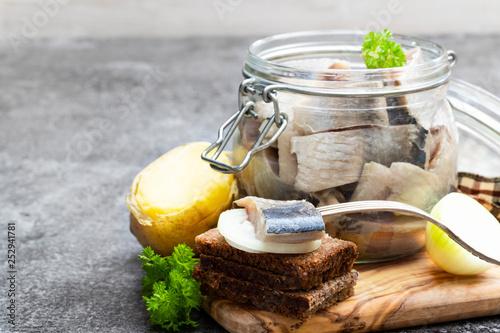 Homemade marinated herring in glass jar with rye bread and jacket potato on gray Tapéta, Fotótapéta