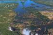 Victoria falls and Zambezi River from the air, Zimbabwe