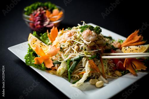Fototapeta Thai food. Yam Wun Sen Shrimps. Thai mung bean noodle salad obraz