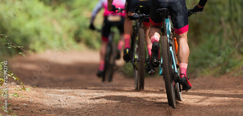 Group of athletes mountain biking on forest trail, mountain bike race Canvas Print