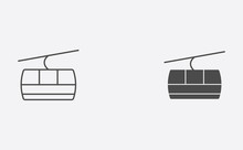 Cable Car Outline And Filled Vector Icon Sign Symbol